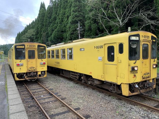 波野駅で行き合う列車